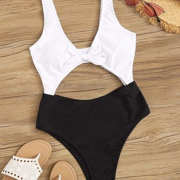 Two Tone Cut-out Knot Front One Piece Swimsuit