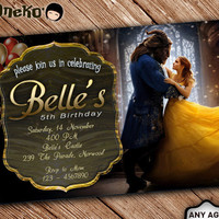 SALE 50% OFF Beauty and the Beast Birthday Invitation Printable - Beauty and the Beast Invitation for Girls and Boys - Belle's Invitation