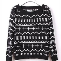 Cross and Wave Knitted Top for Women Black TKS765 from topsales