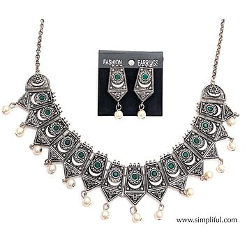 Oxidized Pentagon shaped choker Necklace and Earring set