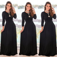Women's Casual Long Maxi Dress Long Sleeve Evening Party Cocktail Beach Sundress