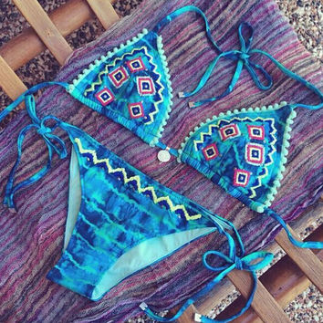 Blue Ethnic Bikini Swimsuit Beach Bathing Suits