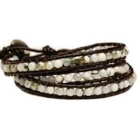 """BLUEYES COLLECTION """"Generous"""" Tree Agate Bead Stainless Steel Snap Button Lock Wrap Leather Bracelet"""