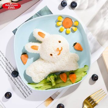 Bakerdream 4 in 1 Bento Accessories Baby Rabbit Baby Dolphin Mold Rice Mold Onigiri Shaper and Dry Roasted Seaweed Cutter Set
