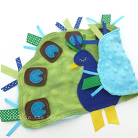 PEACOCK Ribbon Tag Baby Blanket Minky Blankie Lovie Lovey Baby Gift in Green, Blue and Turquoise