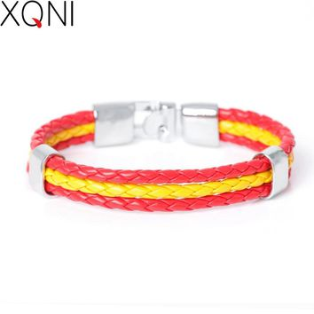 2017 New Fashion National Spain Flag ID Leather Bracelet Trendy Braided Surfer Bandage Charm Sporty Bracelets For Men Women