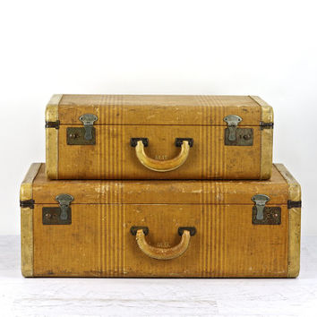 Suitcase Stack Of Two, Vintage Suitcases, Old Tweed Striped Suitcases