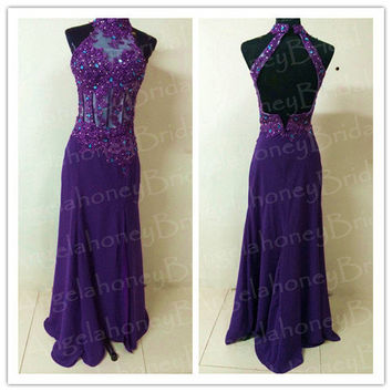 Long Purple Dresses Bridesmaid Dresses Halter Lace See Through Bodice Prom Dresses Backless Prom Dress Evening Dresses Sexy Formal Gowns