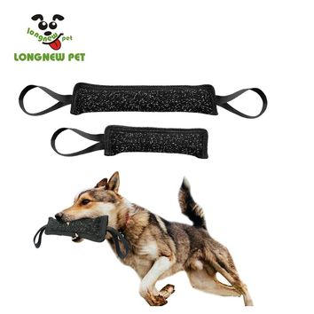 LONGNEWPET Dog Bite Tug Toy Indestructible Dog Bite Pillow Exercising Tug Toys Police K9 Schutzhund Toy Pet Linen Train Toy