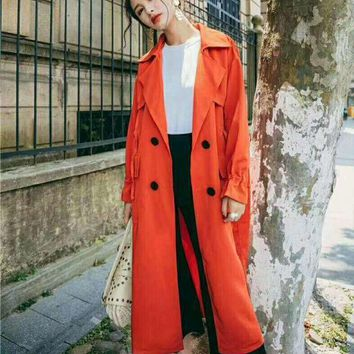 PEAPUF3 Fashion Woman Trench Coat Autumn Fashion Long Outerwear G-QWZDJ-YJDJPD