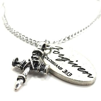 Penny Nail Cross Forgiven Tag Necklace