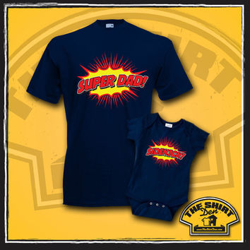 Super Dad and Sidekick Matching Shirts - Matching Dad and Son - T-Shirt - Shirt - Tee - Father Son Shirts - Daddy Baby Shirts - Superhero