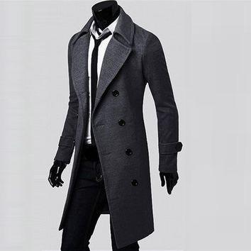 Mens Coat Double-Breasted Long Jacket