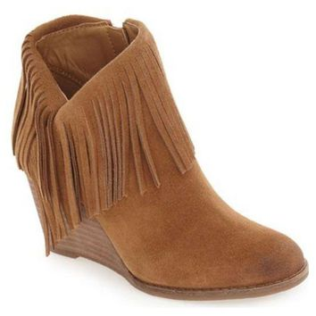 LMFYW3 Lucky Brand Yachin Honey Oiled Suede Wedge Booties