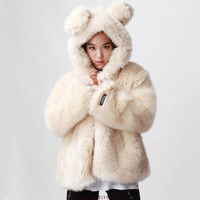 women fur cute coats autumn winter lady faux fur coat with ear hood leopard tiger grain thick full sleeve faux fur coat-in Fur & Faux Fur from Women's Clothing & Accessories on Aliexpress.com | Alibaba Group