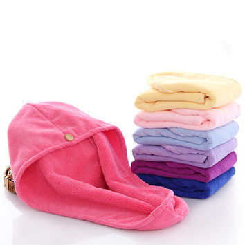 Brand Microfibre Hair Quick Dry Cap Solid Microfiber Hair Drying Towels 65X33cm YM4095