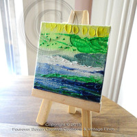 Mini Oil Painting With Easel Abstract Painting Impressionist Original Oil Painting Small Oil Painting Mini Painting Seascape Art Seaside