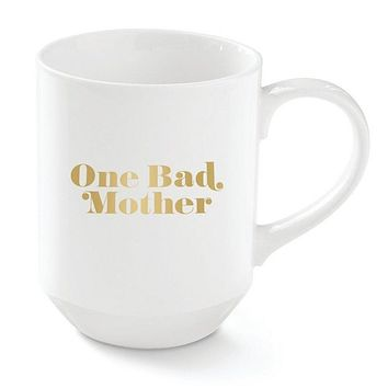 One Bad Mother New York Ceramic Mug in Gold Detail