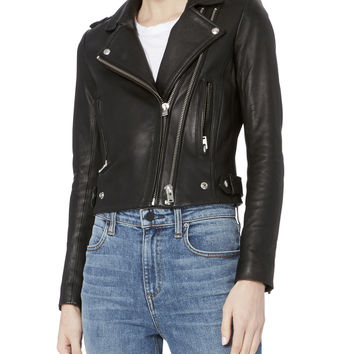 Dylan Black Leather Cropped Moto Jacket