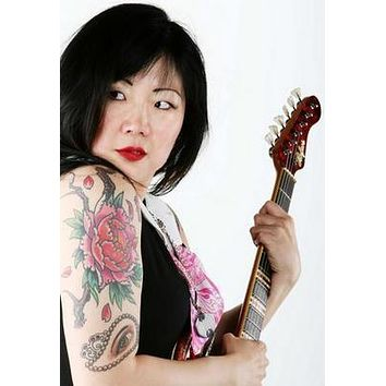 Margaret Cho Tattoos Guitar poster Metal Sign Wall Art 8in x 12in