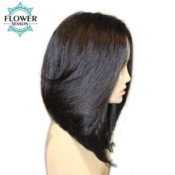 FlowerSeason 13x6 Yaki Straight Short Bob Lace Front Wigs With Baby Hair PrePlucked Brazilian Remy Hair Bleached Knots For Women