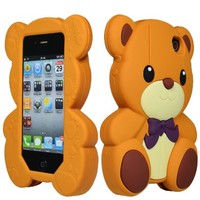 Apple iPhone 4, 4s Bastex Slim Fit,Rubberized,TPU Teddy Bear Case for Apple iPhone 4, 4s - Brown