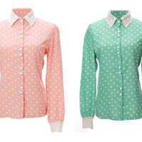 Polka Dot Collared Blouse from Peachmo
