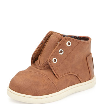 Faux-Leather Paseo Mid-Top Shoe, Brown, Tiny - TOMS