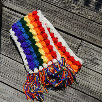 Crochet Rainbow Scarf, Bright, Colorful, Unisex, LGBT, Gay Pride, Parade, Rallies, Festivals, dances, Concerts,  marriage equality