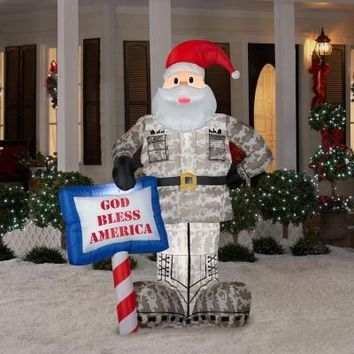 SheilaShrubs.com: Inflatable Military Santa with God Bless America Sign 89127 by Gemmy Industries: Christmas Outdoor Decor