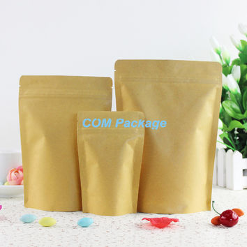 13x21cm Resealable Kraft Paper Stand Up Bag For Tea Gift Bags Packaging Aluminum Foil Ziplock Food Storage Pack Doypack Pouch