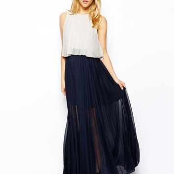 ASOS Pleat Layer Maxi Dress - Navy/cream
