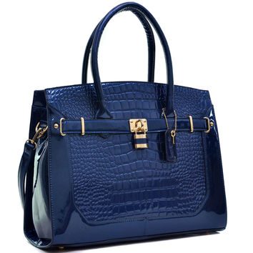 Dasein(R) Patent Faux Croco Embossed Leather Padlock Large Satchel