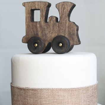 Old-fashied Wood Toy Train Cake Topper
