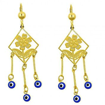 Gold Layered 02.211.0002 Chandelier Earring, Flower and Greek Eye Design, with Sapphire Blue Opal, Blue Enamel Finish, Golden Tone