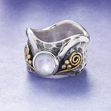 Elven Moonstone Ring - New Age, Spiritual Gifts, Yoga, Wicca, Gothic, Reiki, Celtic, Crystal, Tarot at Pyramid Collection