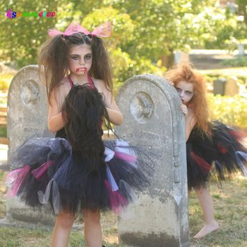 Ksummeree Zombie Tutu Dress Handmade Girls Dress for Purim Scary Monster Pageant Black Hot Pink Halloween Costume TS133