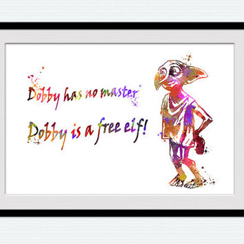 Dobby watercolor poster Harry Potter poster Dobby print Harry Potter colorful print Home decoration Wall hanging gift Kids room art W371