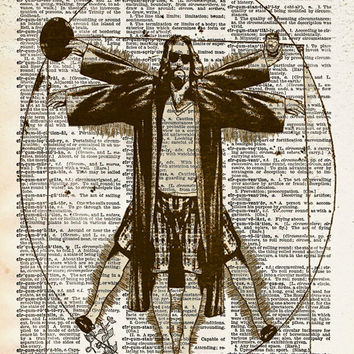 Big Lebowski art, Vitruvian Dude, The Dude art print, Dictionary print art