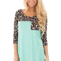 Mint and Leopard Print Contrast Top with 3/4 Sleeves