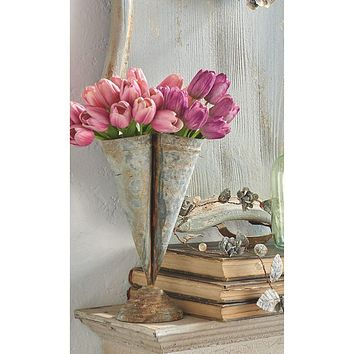Rustic Triple Cone Metal Iron Vase -- 12-in
