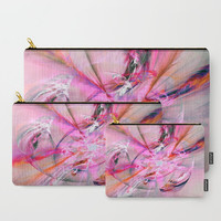 Carry-All Pouch or Laptop Sleeve - Pink & Grey Abstarct - Canvas-like fabric, Travel, Pocket, Abstract, Traveler, Custom, Cosmetic, Make-up