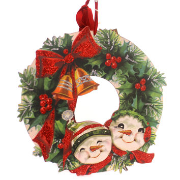 Christmas VINTAGE SNOWMAN & HOLLY WREATH Wood Door Decor Wall Art Bell 32293