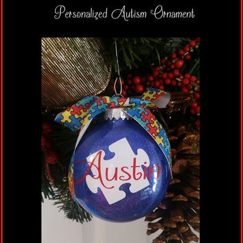 Autism Christmas Ornament, Autism Glitter, Glitter Ornament, Custom Made Christmas Ornament, Glitter Christmas Ornament, Christmas Gift