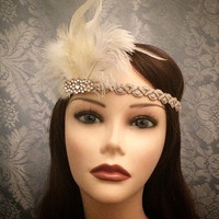 20's style flapper headband White Beige Rhinestone Art Deco Gatsby Feather Ostrich Rooster Head Piece 1920s 20s headpiece Roaring Jazz Era