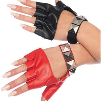 The Harley Two Tone Studded Finger Gloves In Red And Black