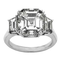Engagement Ring - Asscher Diamond Engagement Ring with Trapezoid Diamond side stones 0.45 tcw. Like Vanessa Minnillo's in 14K White Gold - ES1