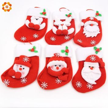 6PCS Six Kinds Of Styles Fine Pattern Red Christmas Baubles Stockings Ornament Kid Gift For Home Christmas New Year Decoration