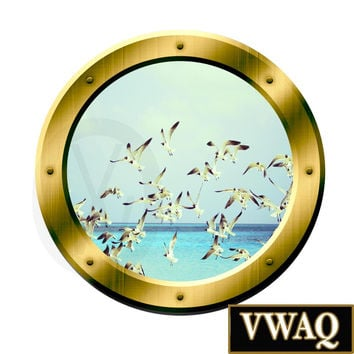 Seagulls Ocean Window Porthole Peel and Stick Decal Wall Art Decor GP37