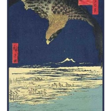 Eagle Soaring Above the Plain at Susaki-(Fukagawa Susaki and Jumantsubo) by Utagawa Hiroshige Counted Cross Stitch or Counted Needlepoint Pattern